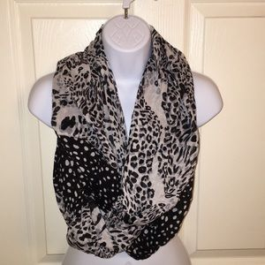 Mixed print black and white infinity scarf